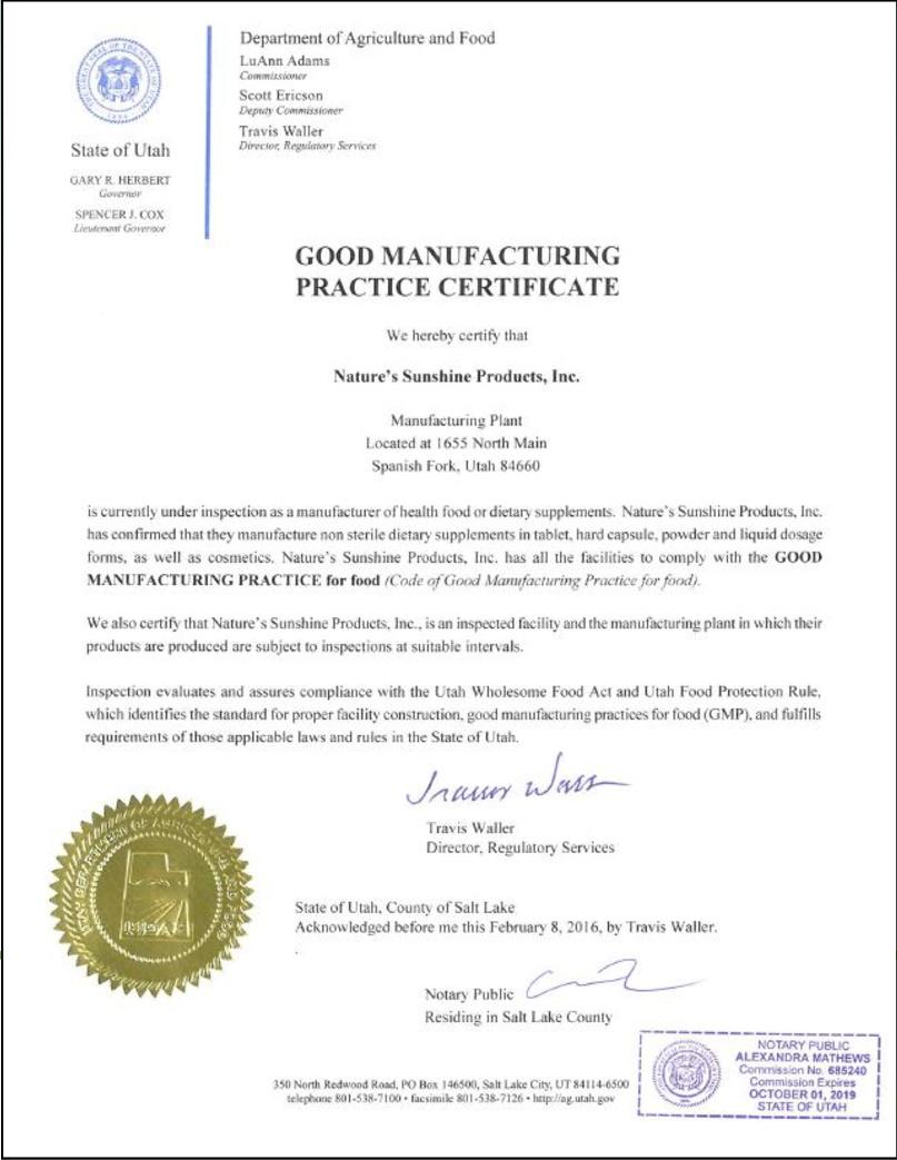1 - Контроль качества и сертификация бад Nature's Sunshine Products