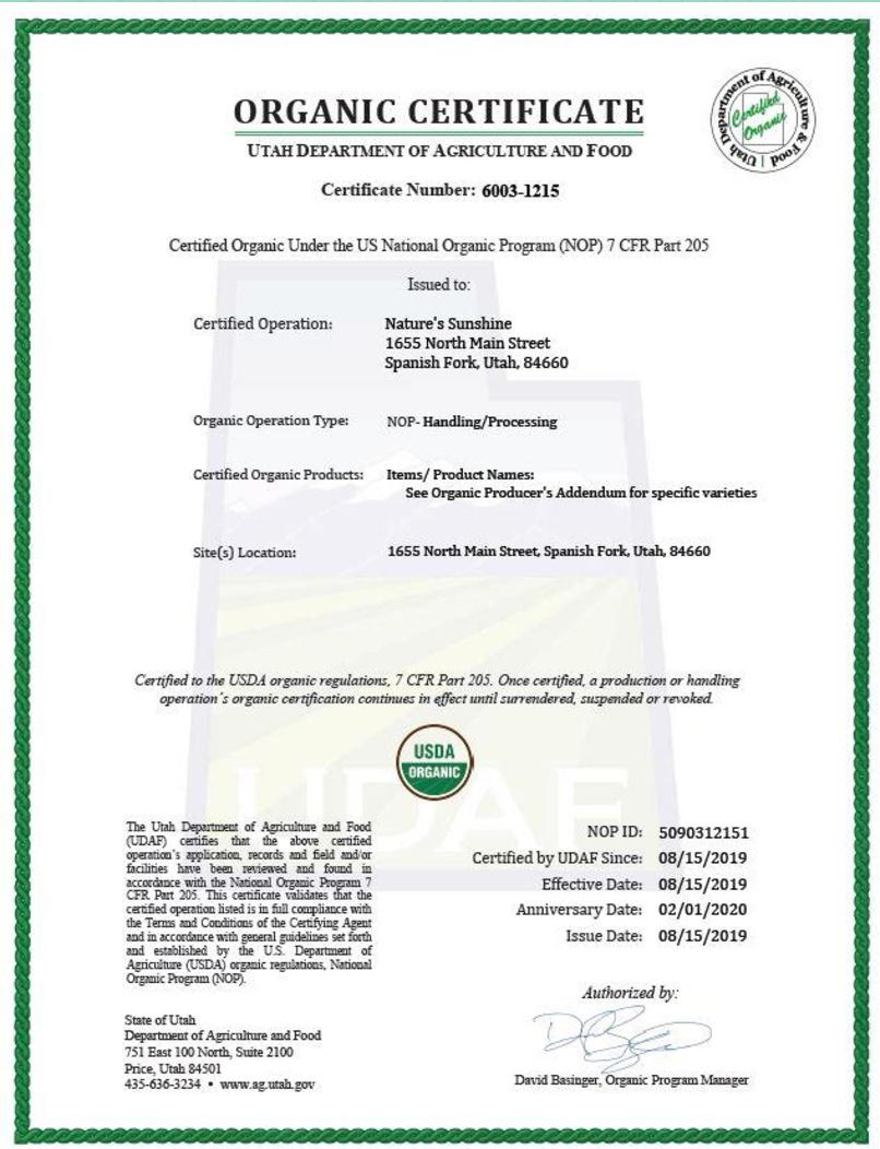 3 - Контроль качества и сертификация бад Nature's Sunshine Products