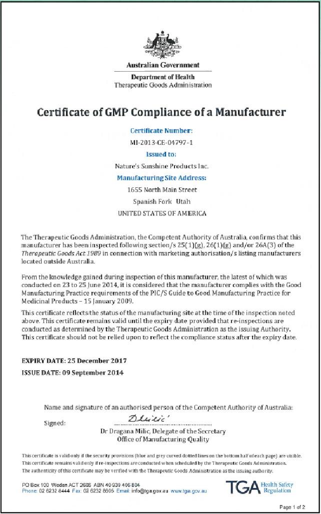 5 - Контроль качества и сертификация бад Nature's Sunshine Products
