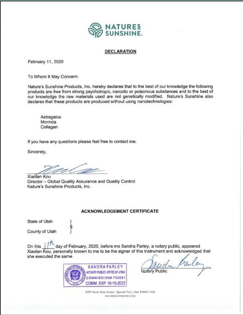 serf3 - Контроль качества и сертификация бад Nature's Sunshine Products